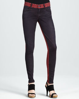 Koral Skinny Red Tinted Colorblock Jeans