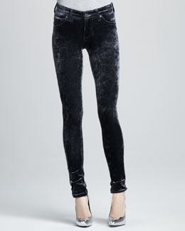 AG Adriano Goldschmied Super Skinny Crushed Velvet Leggings