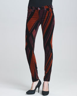 AG Adriano Goldschmied Super Skinny Red Prism-Print Velvet Leggings