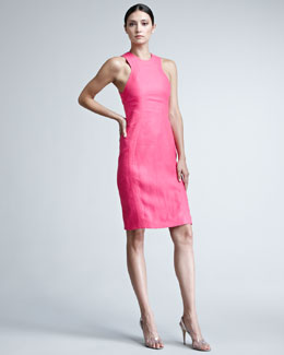 Chado Ralph Rucci Rib-Trim Linen Dress