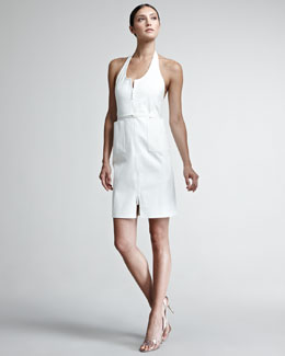 Chado Ralph Rucci Faux-Suede Zip Dress