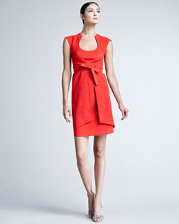 Chado Ralph Rucci Suede Tie-Wrap Dress