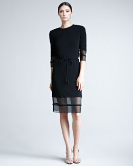 Chado Ralph Rucci Mesh-Trim Jersey Dress