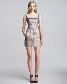 J. Mendel Metallic Cloque Minidress