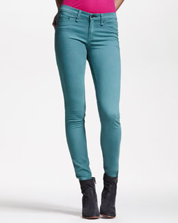 rag & bone/JEAN Cropped Stretch-Twill Leggings, Atlantic