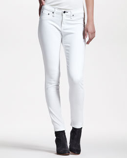rag & bone/JEAN Cropped Stretch-Twill Leggings, Bright White
