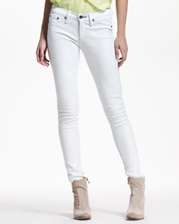 rag & bone/JEAN The Hyde Leather-Front Skinny Jeans, Bright White