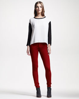 rag & bone/JEAN Plush Twill Leggings, Ruby