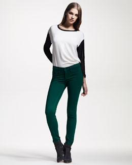 rag & bone/JEAN Plush Twill Leggings, Emerald