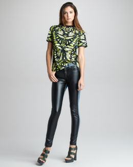 McQ Alexander McQueen Faux Leather/Denim Leggings