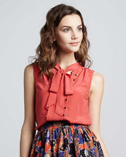 MARC by Marc Jacobs Mariko Sleeveless Tie-Neck Blouse