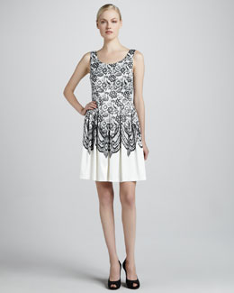 Elie Tahari Jessy Lace-Print Dress