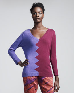 Kelly Wearstler Slither Colorblock Sweater, Amethyst/Violet