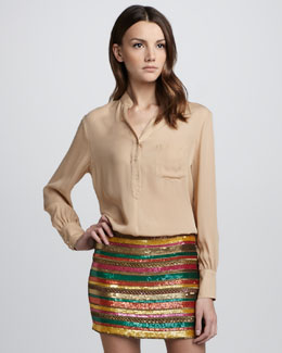 Haute Hippie Long-Sleeve Silk Blouse