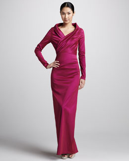 Talbot Runhof Long-Sleeve Ruched Taffeta Gown