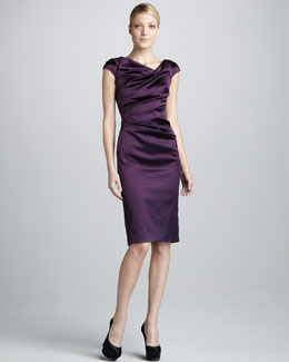 Talbot Runhof Asymmetric Ruched Cocktail Dress
