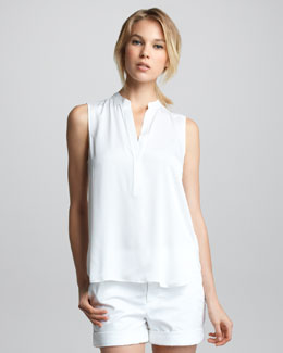 Vince Sleeveless Half-Placket Blouse