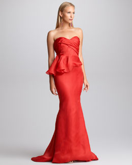 Pamella Roland Side-Peplum Mermaid Gown