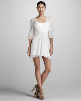 Pamella Roland Sheer Chiffon Cocktail Dress