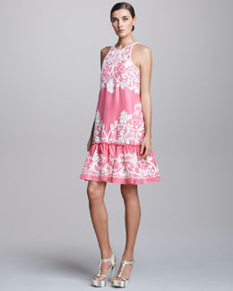 Naeem Khan Embroidered Drop-Waist Cocktail Dress
