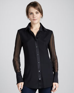 Ramy Brook Linda Sheer-Sleeve Blouse