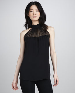 Ramy Brook Eva Sheer-Top Blouse