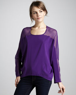 Ramy Brook Gabby Sheer-Top Blouse