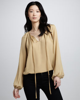 Ramy Brook Paris Silk Tie-Neck Blouse