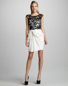 Notte by Marchesa Draped Lace-Top Cocktail Dress