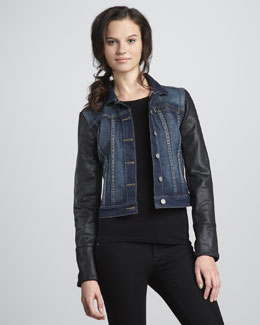 Paige Denim Coated-Sleeve Jacket