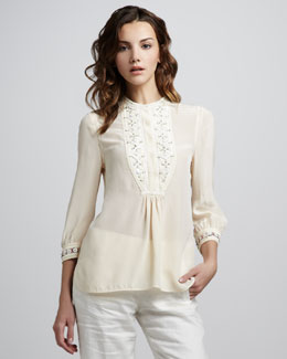 Tory Burch Petal Embroidered Silk Top