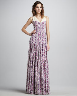 Tory Burch Logan Tiered Printed Maxi Dress