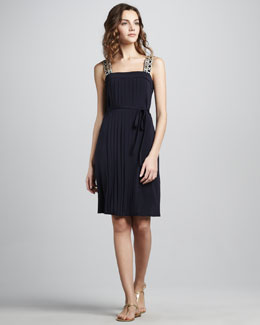 Tory Burch Jacqueline Pleated Bead-Strap Dress