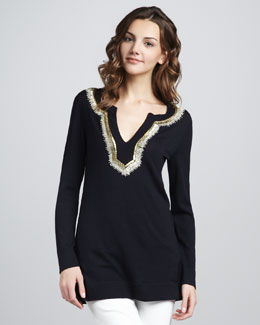 Tory Burch Dove Embellished Wool Tunic