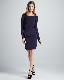 Halston Heritage Gathered Long-Sleeve Dress