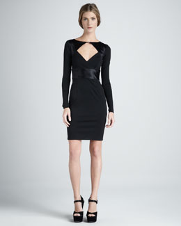 Halston Heritage Front-Cutout Long-Sleeve Ponte Dress