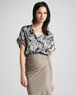 Halston Heritage Printed Silk Wrap Top