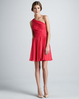 Halston Heritage Ruched-Top One-Shoulder Dress