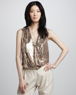 Halston Heritage Sequined Wrap-Front Top
