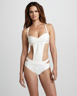 Herve Leger Side-Cutout One-Piece Bandage Swimsuit
