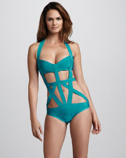 Herve Leger Strappy Cutout Bandage One-Piece Swimsuit