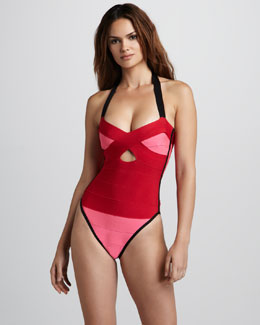 Herve Leger Colorblock Bandage One-Piece Swimsuit