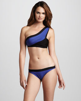 Herve Leger One-Shoulder Two-Piece Swimsuit
