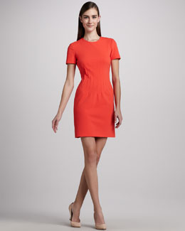 Diane von Furstenberg Yazmine Fitted Crepe Dress, Atomic Orange