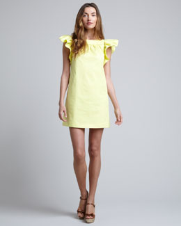 RED Valentino Ruffle-Sleeve Shift Dress, Lemon
