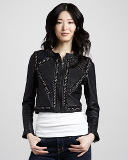 Haute Hippie Quilted Leather Combo Jacket