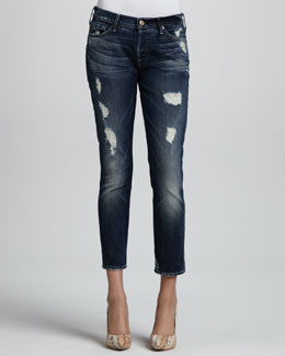 7 For All Mankind Josefina Skinny Rich Dark Destroy Cropped Jeans
