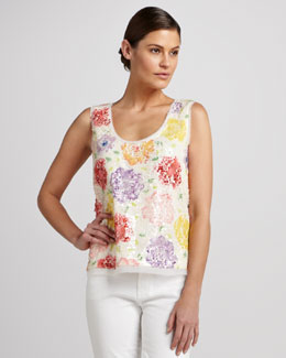 Elie Tahari Rosalin Sequined Sleeveless Top