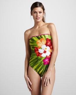 Gottex Maldives Printed Bandeau One-Piece Swimsuit