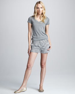 Alice + Olivia Striped Cuffed Cady Shorts